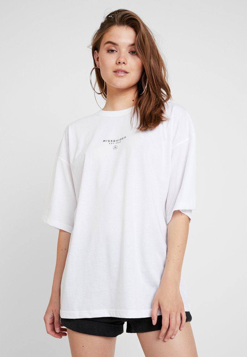 Missguided - DROP SHOULDER - Print T-shirt - white