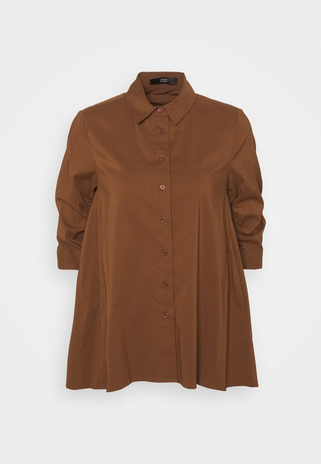 BENITA FASHIONABLE BLOUSE - Button-down blouse - espresso