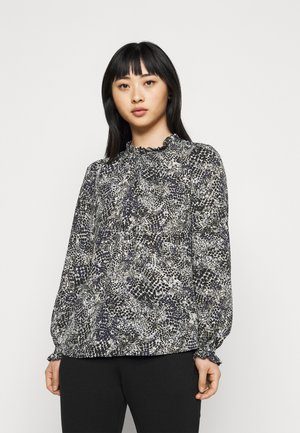 SPOT SHIRRED CUFF BLOUSE - Long sleeved top - navy