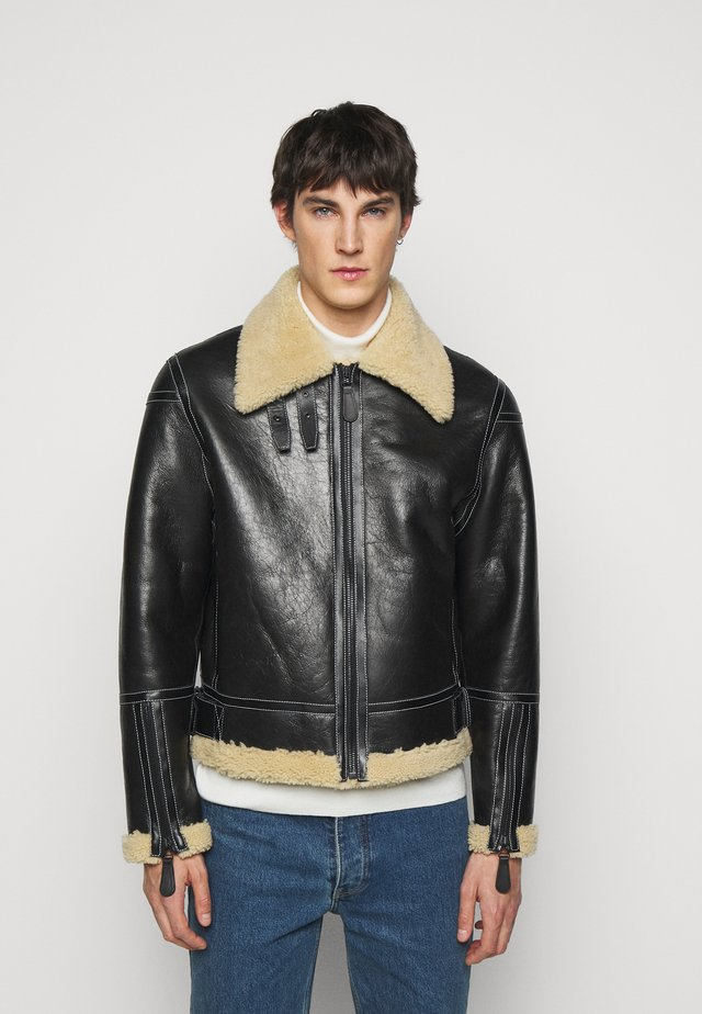 GENTS LEATHER SHORT SHEARLING JACKET - Leather jacket - black