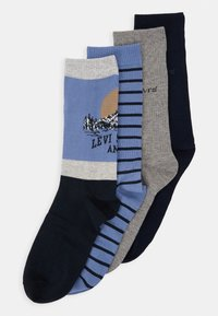 Levi's® - GIFTBOX REGULAR CUT MOUNTAIN 4 PACK - Socks - blue - 0