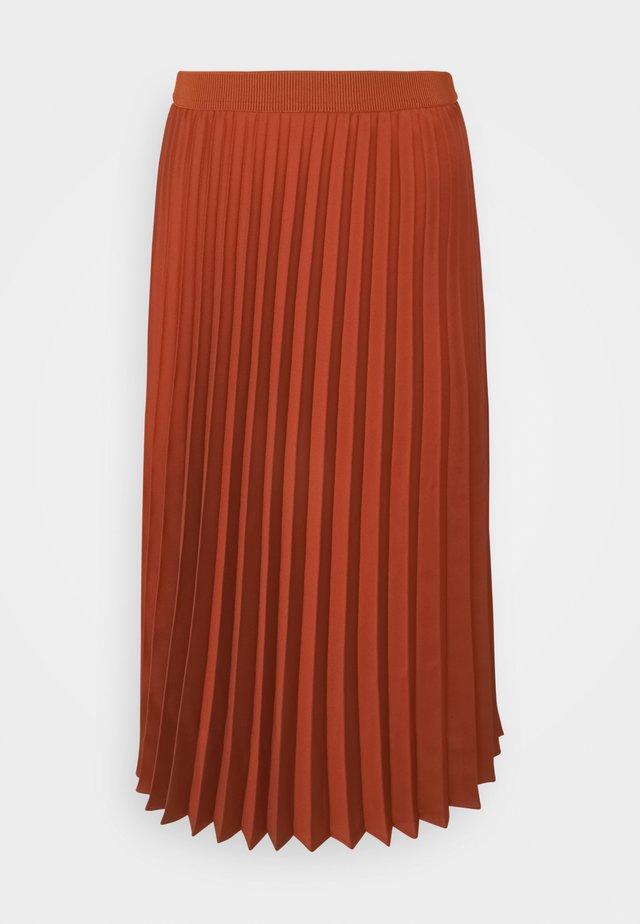 SKIRT MIDI - A-line skirt - terracotta