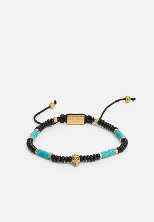 SKULL MACRAMÉ BRACELET UNISEX - Armbånd - black/turquoise/gold-coloured