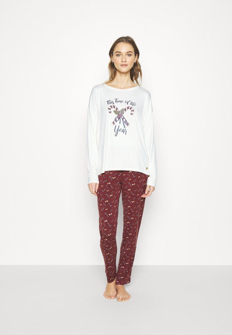 TOM TAILOR - XMAS ONECK  SET - Pyjamas - red dark allover