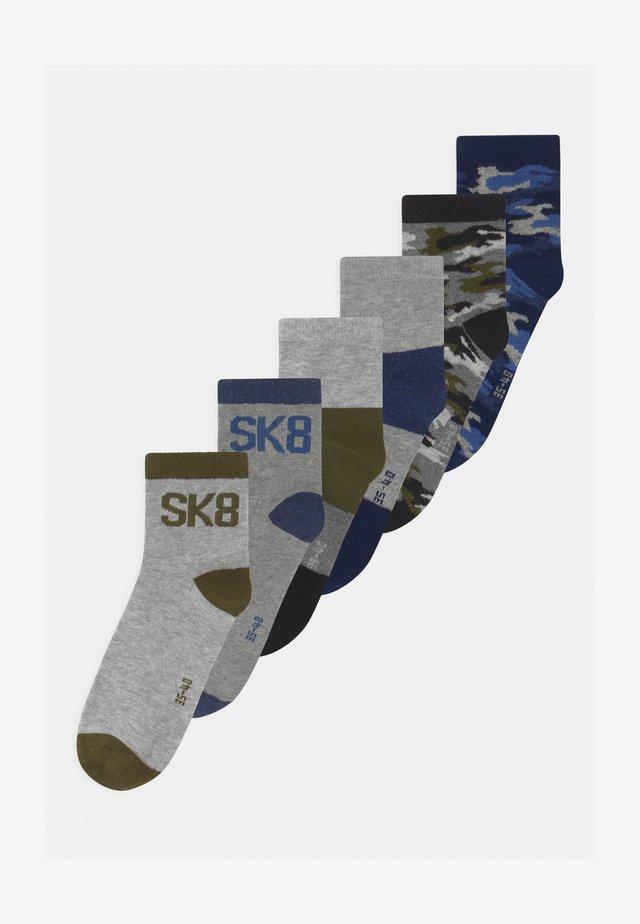 SHORT 6 PACK - Sokken - blue/grey /black/green