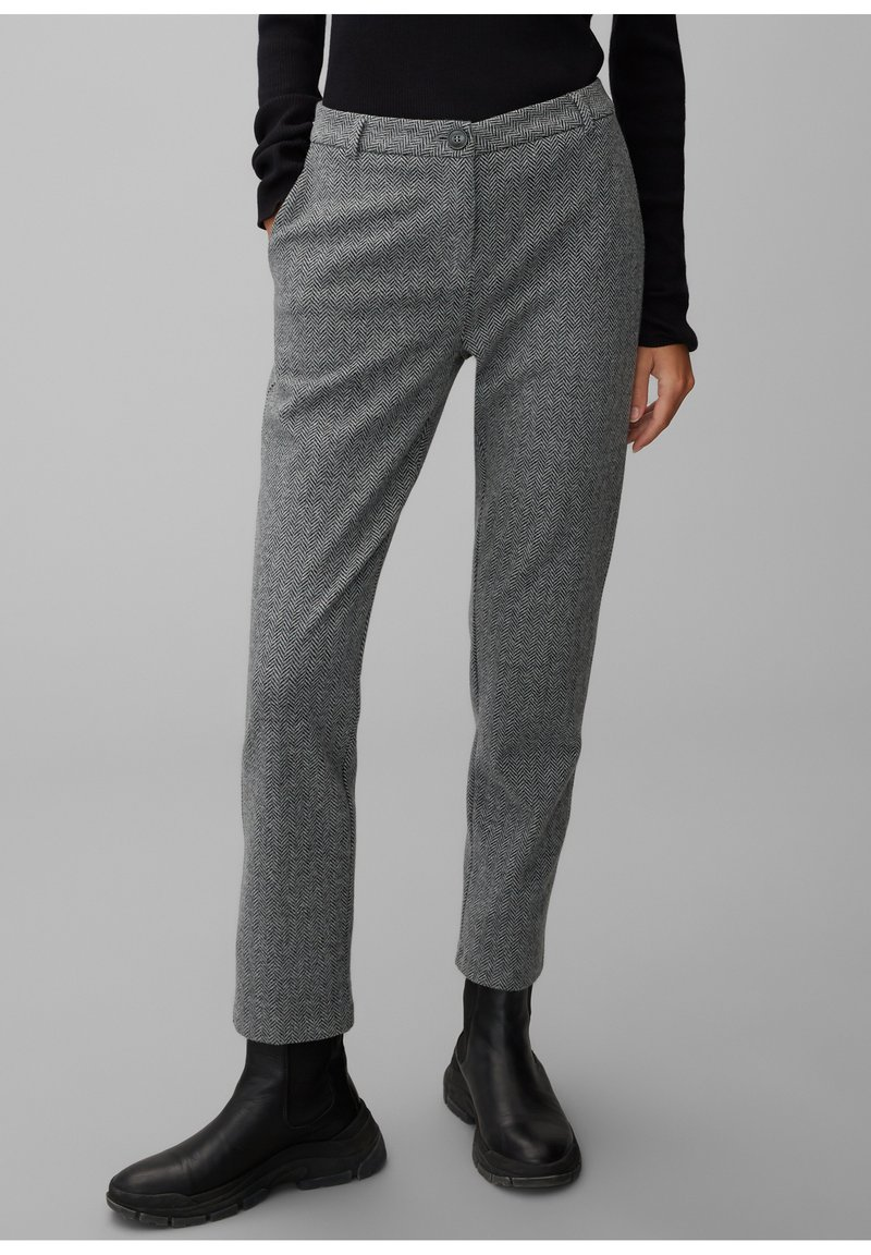 Marc O'Polo - MIT FISCHGRAT-MUSTER - Trousers - multi/black