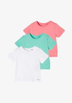 3 PACK - Print T-shirt - white/petrol/pink