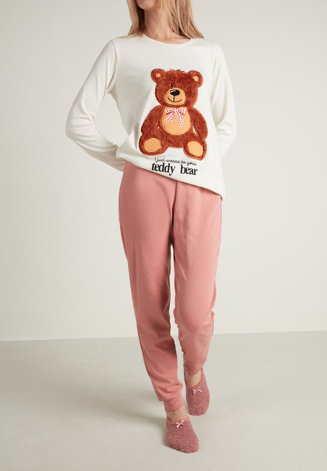 Pyjama set - milk white teddy print