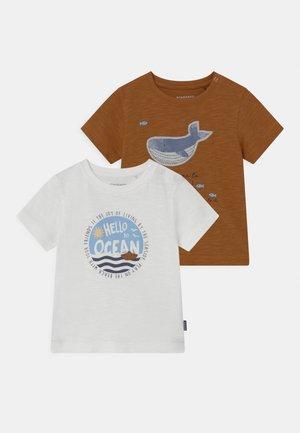 2 PACK - Camiseta estampada - off-white/beige