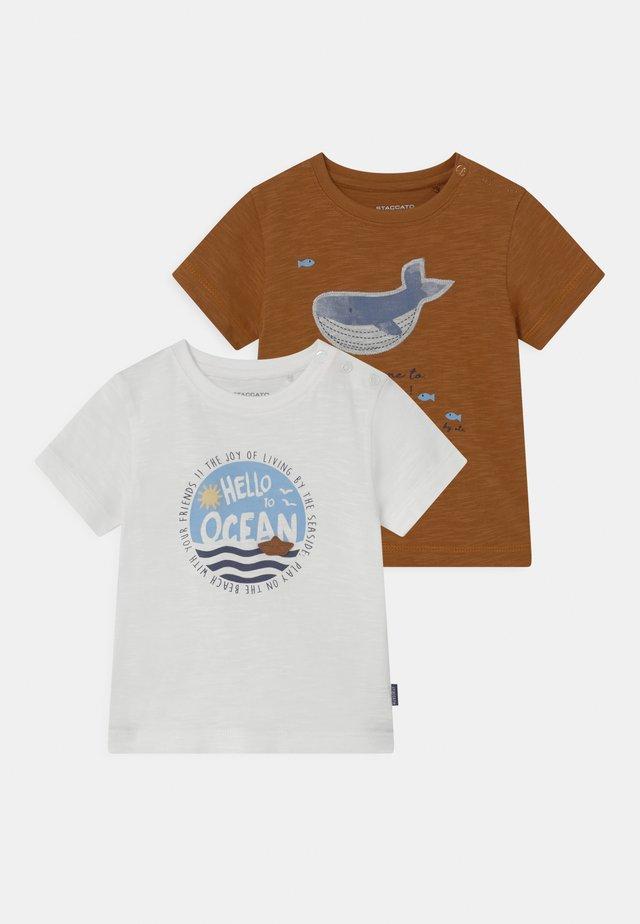 2 PACK - Print T-shirt - off-white/beige