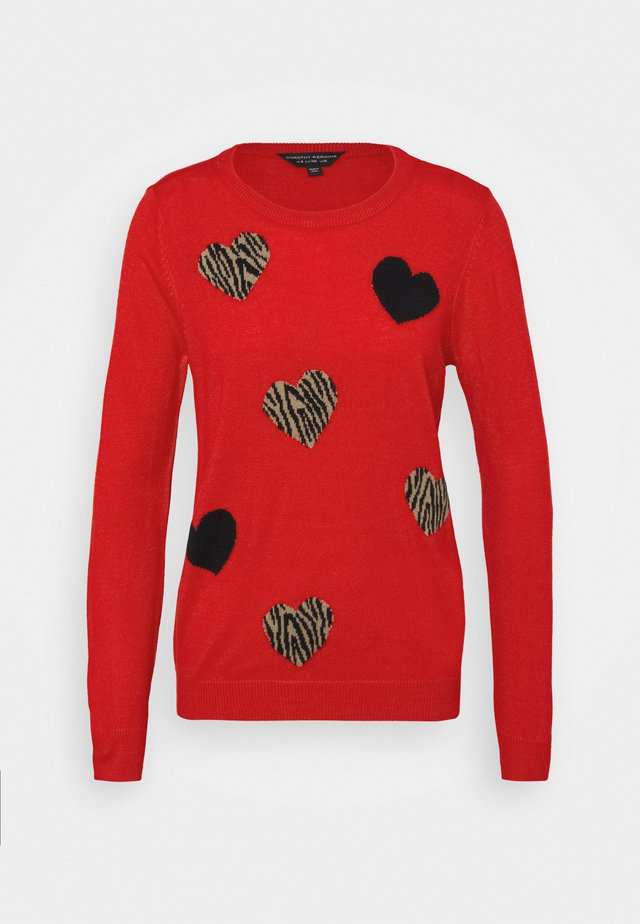ALL OVER ANIMAL HEART JUMPER - Jumper - red