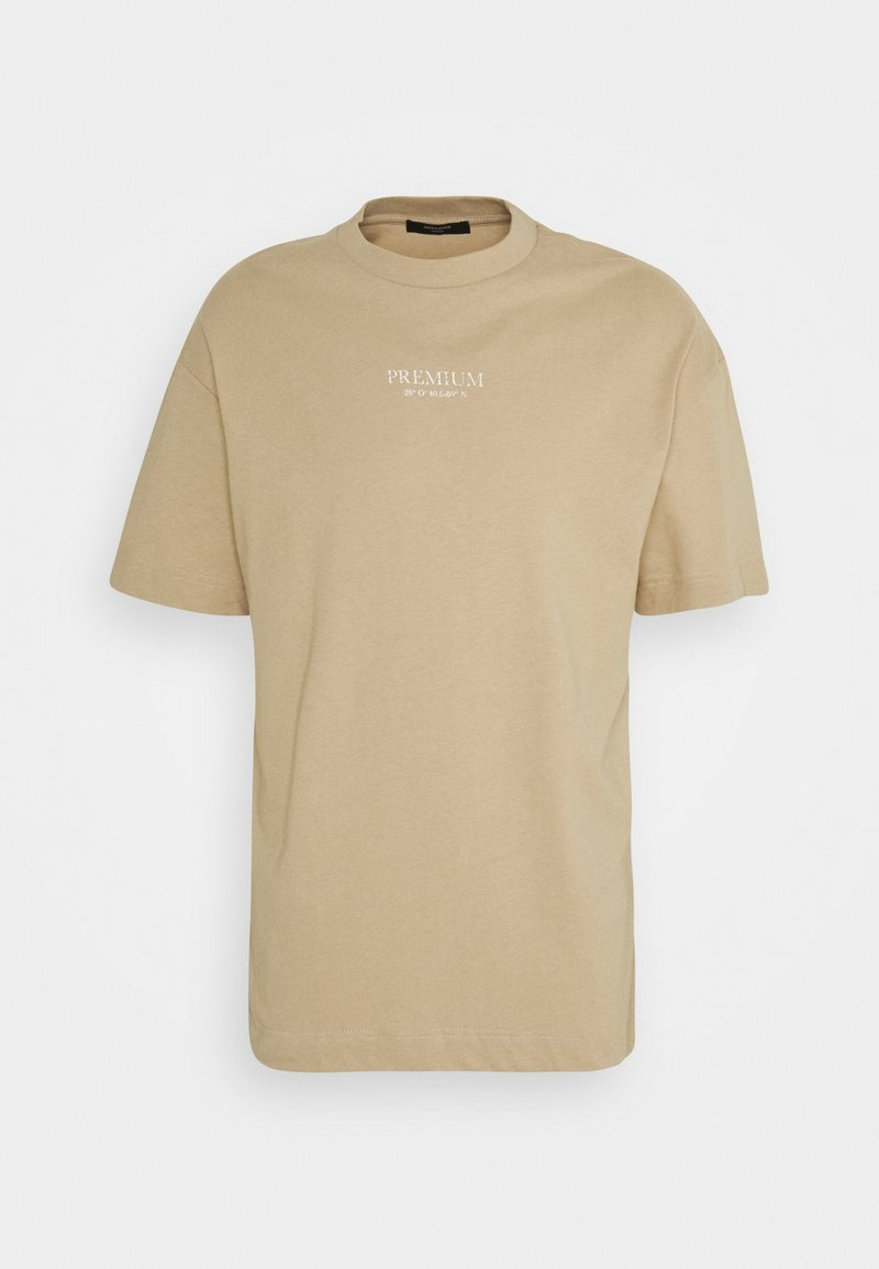 Jack & Jones PREMIUM - JPRBLAGEO BOX FIT TEE - Print T-shirt - white pepper