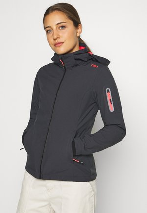 WOMAN JACKET ZIP HOOD - Veste softshell - antracite/red fluor