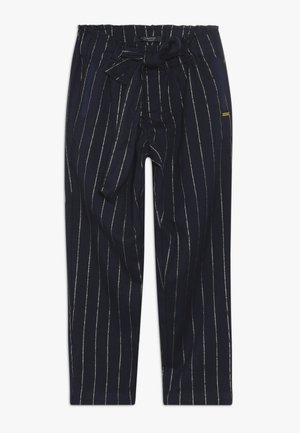 RELAXED SLIM FIT PINSTRIPE PANTS WITH BOW DETAIL - Pantalones - dark blue