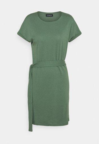 BASIC - Short sleeves mini belted dress - Vestido ligero - khaki