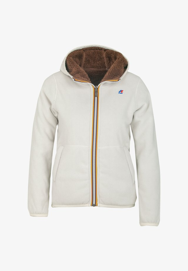 POLAR DOUBLE - Zip-up hoodie - white gardenia-brown