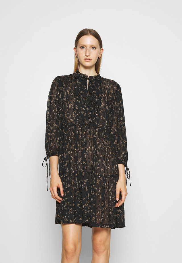 KIELY DRESS - Korte jurk - black/camel