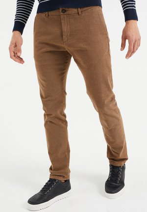 SKINNY FIT MET VISGRAATDESSIN - Chinos - brown