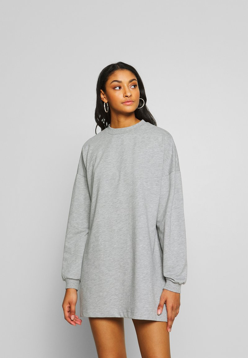 Nly by Nelly - THROUGH THE HOOD - Korte jurk - grey mélange