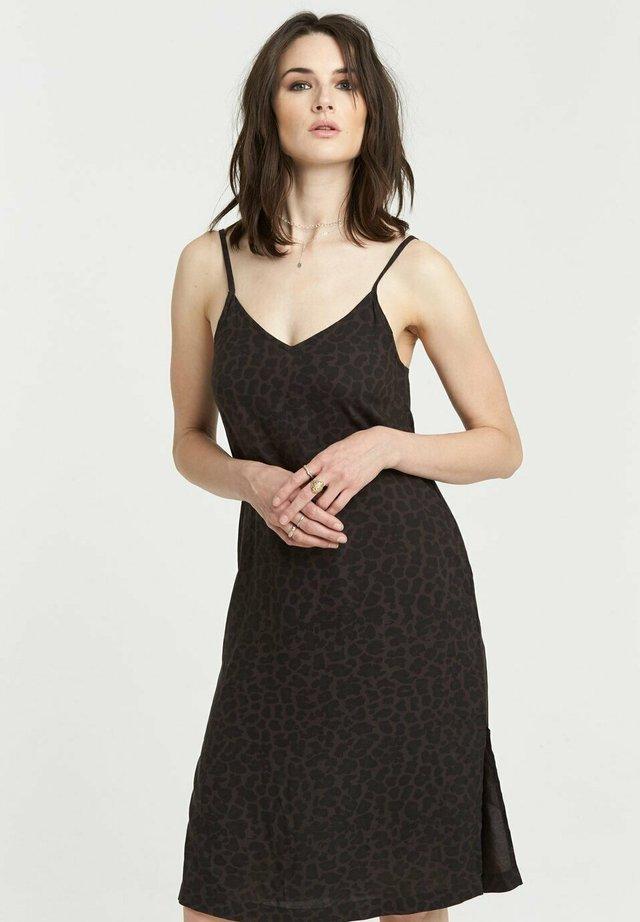 Korte jurk - black leopard