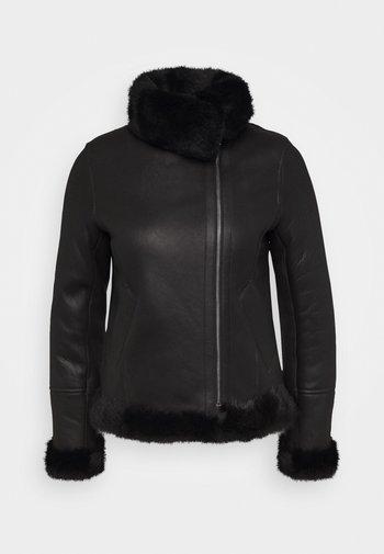 GINA SHEARLING JACKET - Leather jacket - black