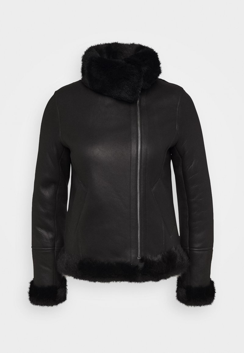 STUDIO ID - GINA SHEARLING JACKET - Leather jacket - black