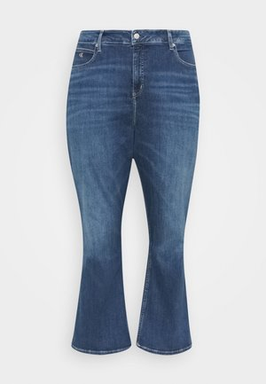 HIGH RISE FLARE - Relaxed fit jeans - dark blue denim