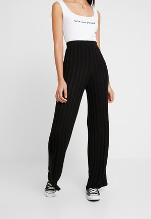 RIBBED TROUSER - Trousers - black
