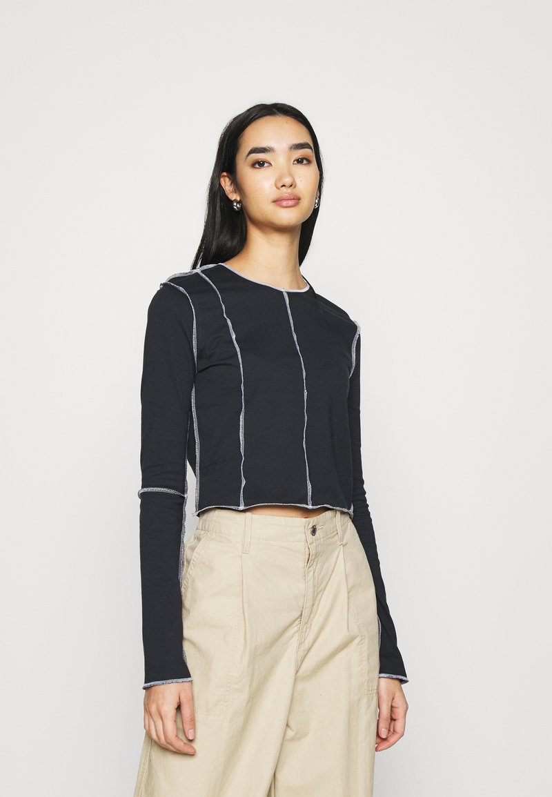 Topshop - CONT STITCH - Long sleeved top - black