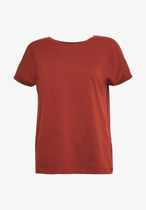 JDYLOUISA LIFEFOLD UP TOP - T-shirts - bordeaux