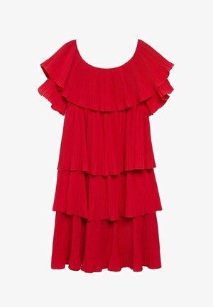 MIT PLISSIERTEN VOLANTDETAILS - Day dress - rot