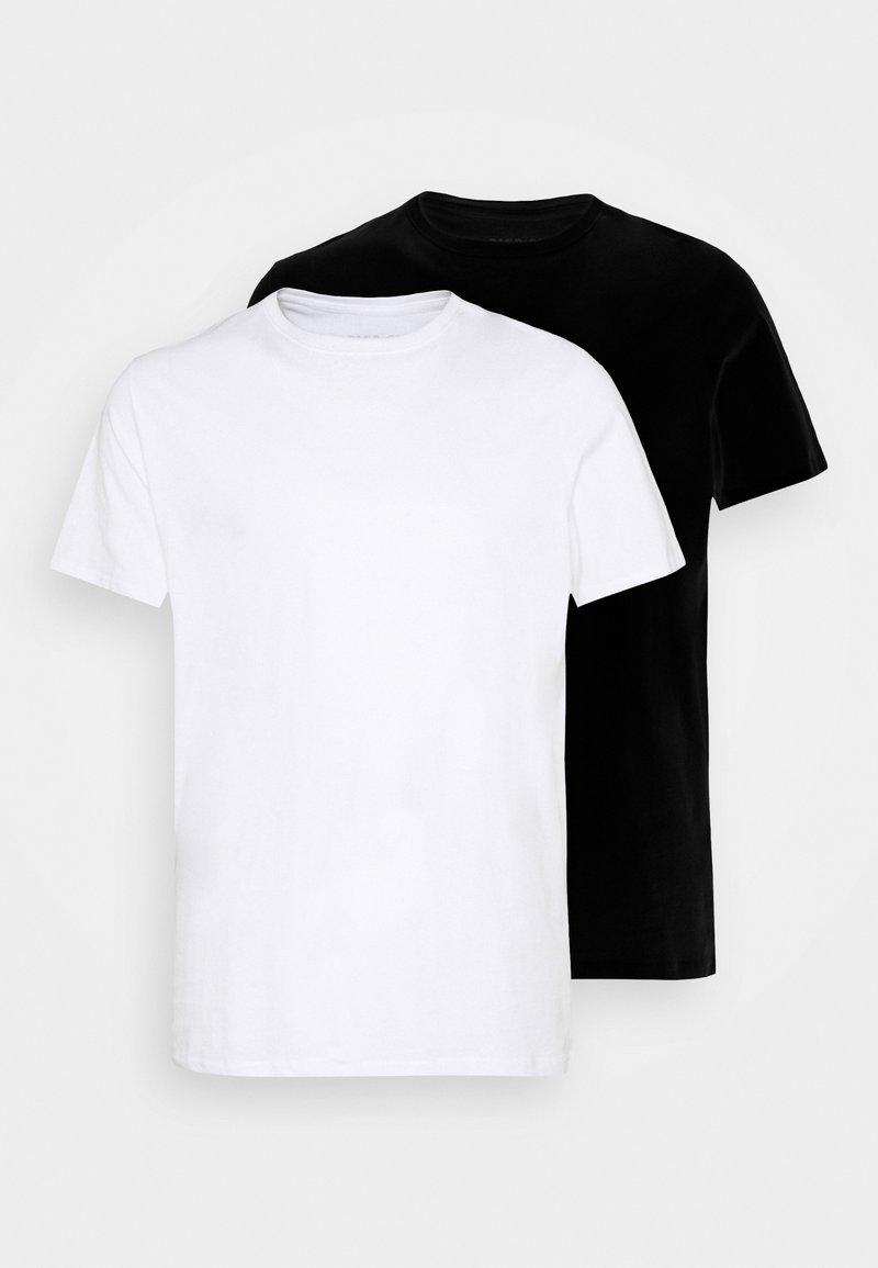 Pier One - 2 PACK  - T-shirt basic - white/black