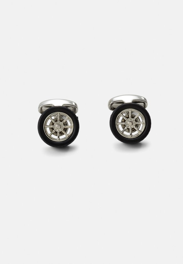 MEN CUFFLINK WHEEL - Gemelli - silver-coloured/black