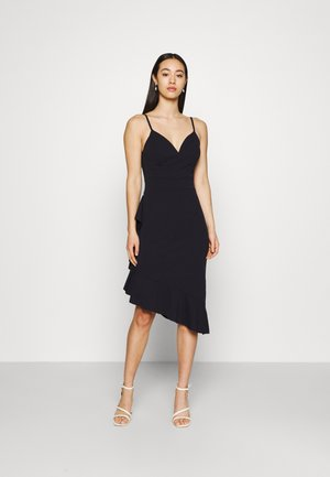 QUIN SIDE FRILL MIDI DRESS - Cocktail dress / Party dress - navy blue