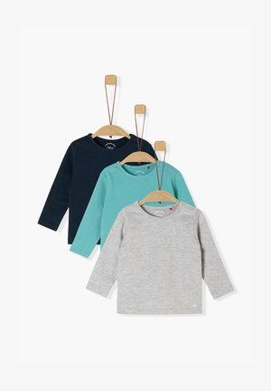 3ER-PACK - Long sleeved top - navy/turquoise/grey