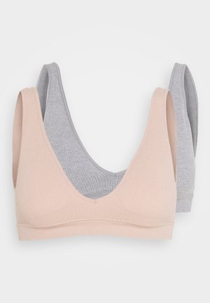 SEAMFREE PLUNGE BRALETTE 2 PACK - Triangle bra - new latte/grey marle