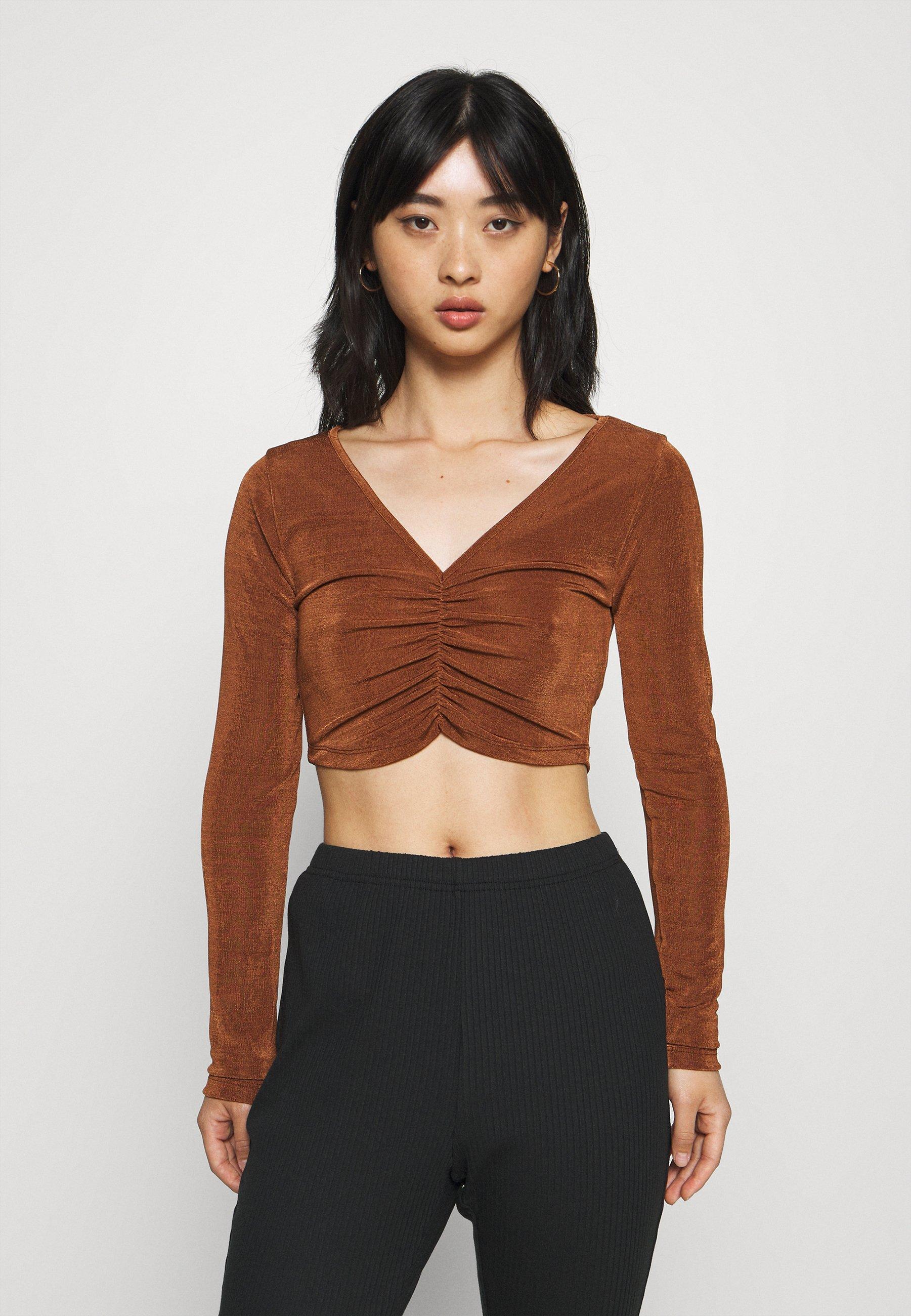 Femme RUCHED FRONT CROP TOP - T-shirt à manches longues