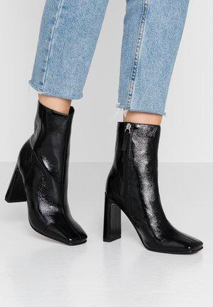 HALIA SQUARE TOE - Højhælede støvletter - black