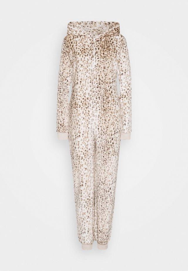 LEOPARD PRINT LUXURY ONESIE EMBROIDERED HOOD - Pyjamas - brown