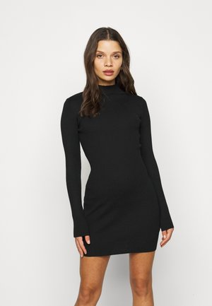 HIGH NECK MINI DRESS - Etuikjole - black