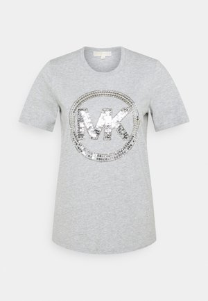 Print T-shirt - pearl heather
