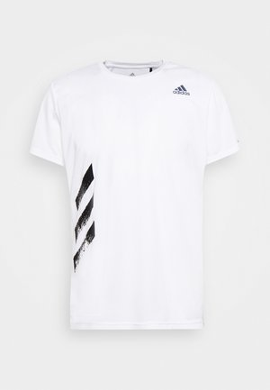 OWN THE RUN 3STRIPES SHORT SLEEVE TEE - T-shirt con stampa - white