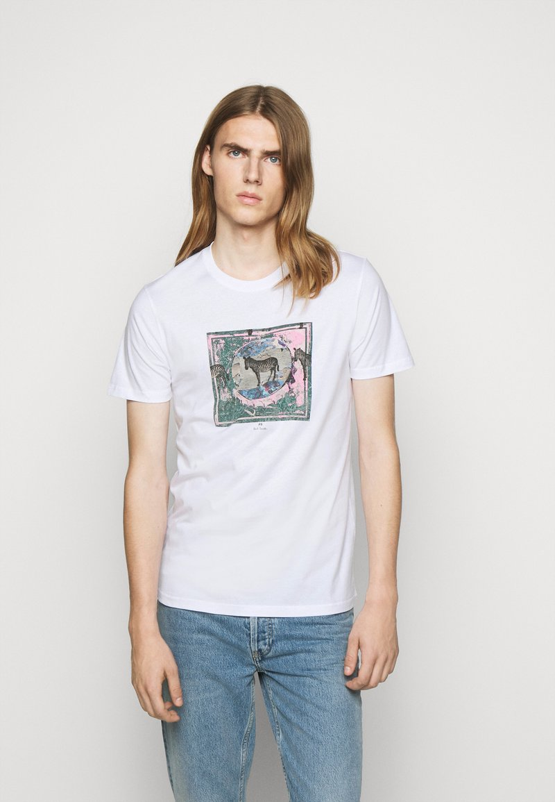 PS Paul Smith - SLIM FIT ZEBRA - Print T-shirt - white
