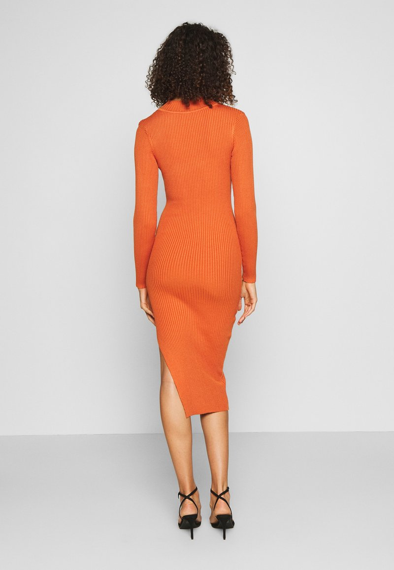 Missguided Tall FUNNEL NECK SIDE SPLIT MIDI DRESS - Strickkleid - orange 1p9lsI