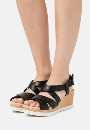 CAMMY BLOSSOM - Platform sandals - black