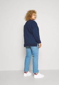 Zign - Slit Sides Oversized Sweatshirt - Sweatshirt - dark blue - 2