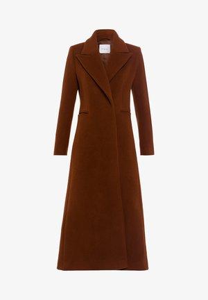 MIT GROSSEM REVERS - Classic coat - dark cognac