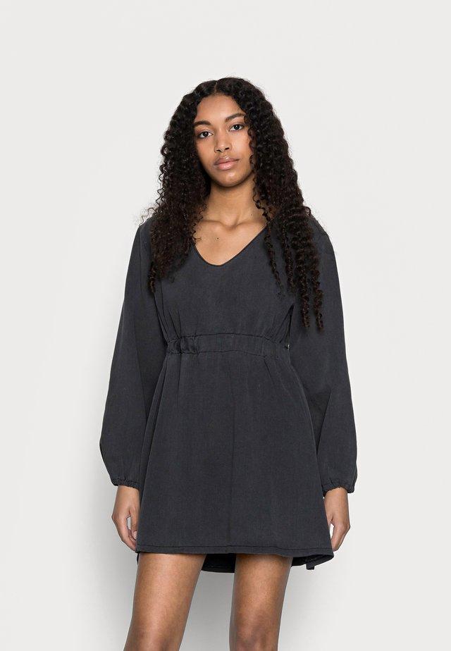 BALLOON SLEEVE SKATER DRESS - Spijkerjurk - black