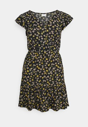 JDYGITTE SVAN CAPSLEEVE DRESS - Day dress - black /yellow