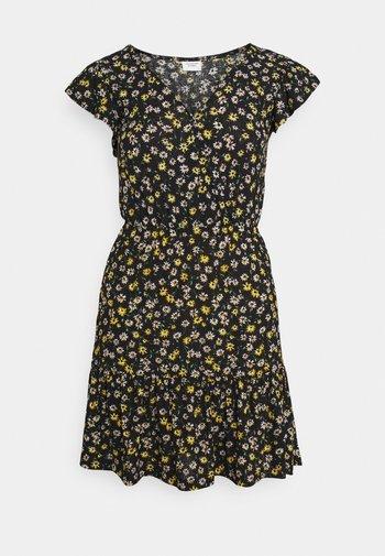 JDYGITTE SVAN CAPSLEEVE DRESS - Vestido informal - black /yellow